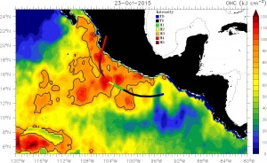 (OCH) Ocean Heat Content image from October 23, 2015.