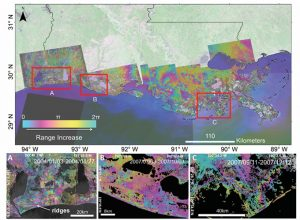 Figure 1. Mosaic of ALOS and Radarsat-1 interferograms for coastal Louisiana. The red frames show the location of enlarged interferograms presented in Figures A, B and C. A) Radarsat-1 interferogram of the western Chenier Plain spanning 24-day period (2004/01/03–2004/01/27). In the central part of the interferogram fringe patterns show changes in inland water bodies. The left side of the interferogram shows fringe patterns due to the morphology of the Chenier reflecting water level changes in the mudflats in between the ridges of the Chenier's. B) ALOS interferogram, 92 days (2007/07/03–2007/10/03), of the central Chenier Plain showing phase changes due to elongated fringe patterns sub-parallel to the coastline coinciding with man-made canals. C) ALOS interferogram of the west of the Mississippi River delta, spanning 92-day period (2007/09/11–2007/12/12). The interferogram showing two fringe cycles across the tidal zone mapping the tide inundation extent.