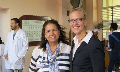 Dr. Martha Larrea Fabra, with the General Calixto Garcia Hospital in Havana, and Dr. Tanya Zakrison, assistant professor at UM's Miller School of Medicine.