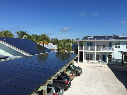 On Anna Maria Island, in Florida, the Historic Green Village, a Net Zero Energy Community, incorporates a solar PV (photovoltaic) system into its renewable energy portfolio.