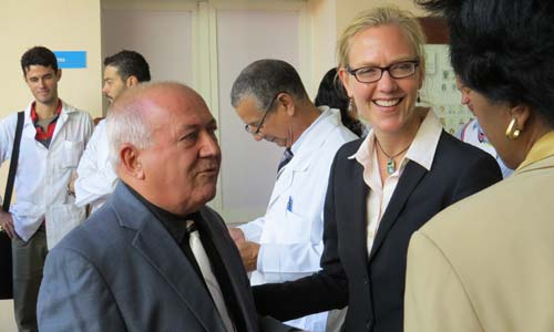 Dr. Tanya Zakrison meets with officials with the University of Havana's Calixto Garcia Hospital during an international conference that coincided with the hospital's 121st anniversary.