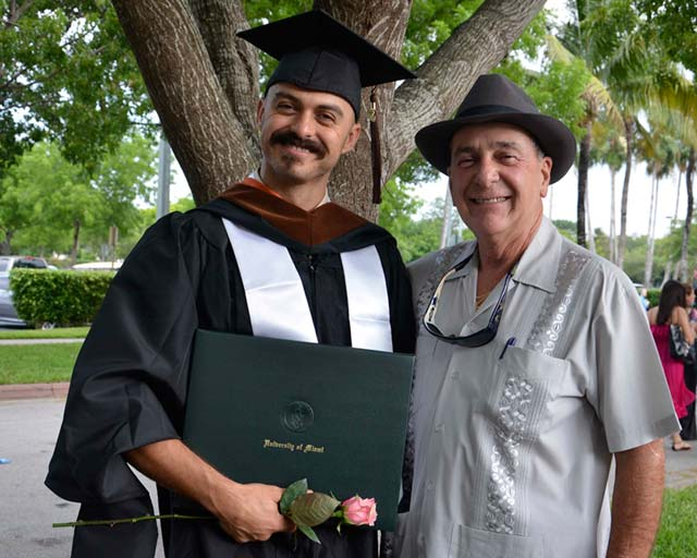 Tony Mendez, left, at his graduation from UM, with his uncle Ricardo, the inspiration for his award-winning graduate thesis film, El Mar y Él (2015). Photo credit: Tony Mendez