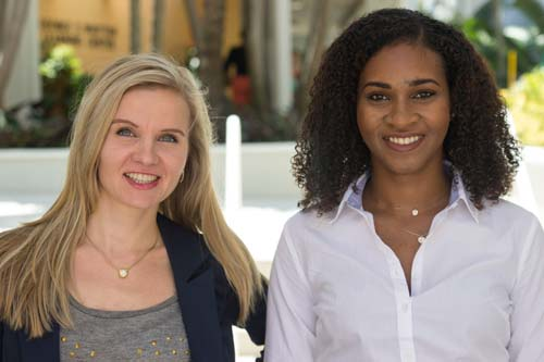 School of Communication researchers, Kerli Kirch, left, and Soroya McFarlane, both doctoral candidates.