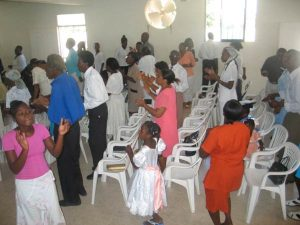 The congregation at the Pentecostal Church in Jacmel, Haiti.