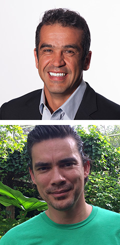 Top: Fernando Bretos, curator of ecology and director of MUVE (Museum Volunteers for the Environment) at Frost Science. Bottom: Andrew Baker, Andrew Baker, associate professor of marine biology and ecology at the Rosenstiel School of Marine and Atmospheric Science, and head of Rosenstiel's Coral Reef Futures Lab.