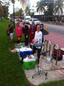 UM Students monitoring aerial spraying in Miami Beach.